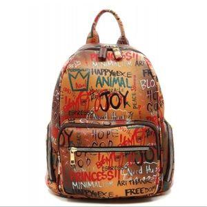 NEW Graffiti Print Backpack Brown, Black,  Multi
